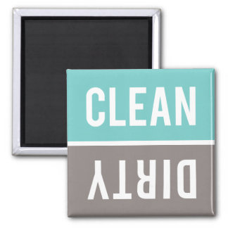 Dishwasher Magnet CLEAN   DIRTY - Turquoise & Gray