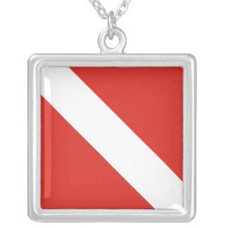 Dive Flag Square Pendant Necklace
