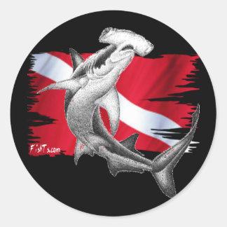 Dive flag with hammerhead shark-diver down round sticker