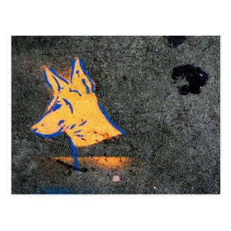Doberman Pinscher Stencil Graffiti Postcard