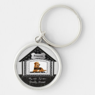 Dog House Pet Memorial Silver-Colored Round Key Ring