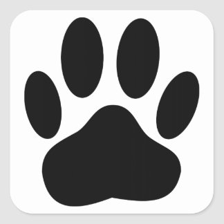 Dog Pawprint Square Sticker