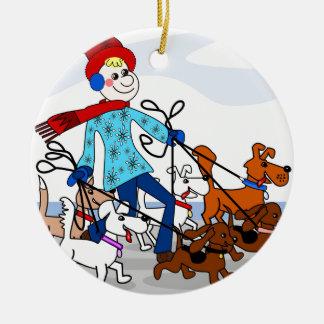 Dog walker round ceramic decoration