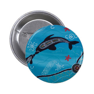 Dolphin & Calf Dreaming 6 Cm Round Badge