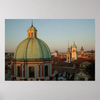 Dome of Church of Saint Francis, Prague, Czech Poster