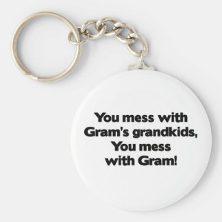 Don't Mess with Gram's Grandkids Basic Round Button Key Ring