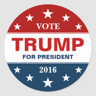 Donald Trump 2016 Presidential Campaign Flag Stars Round Sticker