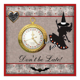 Don't be Late Alice Witch Halloween Party Invites