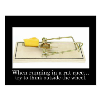 Don't get stuck in the rat race postcard