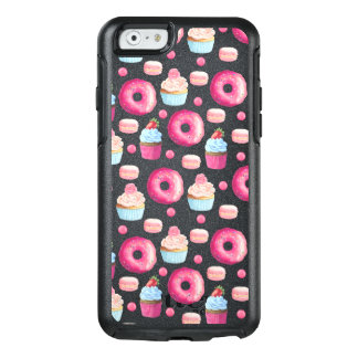 Donuts Macarons And Cupcake Pattern In Watercolor OtterBox iPhone 6/6s Case