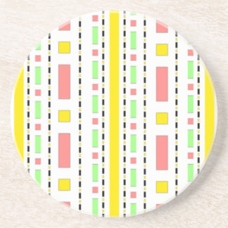 Dots Dash in Yellow Mauve Pastels Beverage Coasters