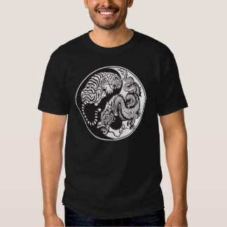 dragon and tiger yin yang symbol t shirt