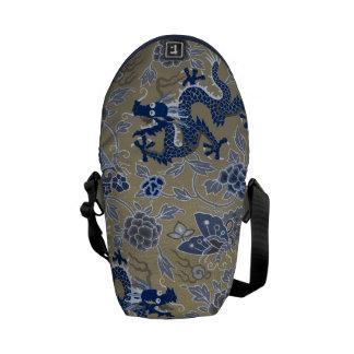 Dragons, Flowers, Butterflies - Blue on Dull Gold Messenger Bags