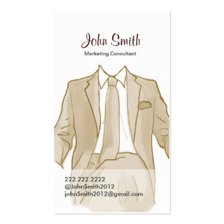Drawing Men's Suit Profile Card Pack Of Standard Business Cards