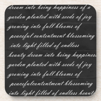 Dream Poem Black with White Words Coasters