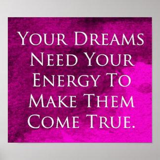 Dreams Quote Elegant Purple Background Poster