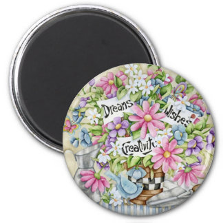 Dreams Wishes And Creativity 6 Cm Round Magnet