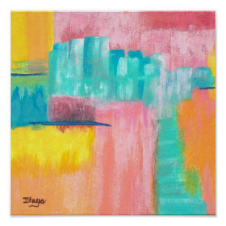 Dreamscape Abstract Art City Landscape Painting Poster