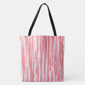 Driftwood pattern - coral pink and white tote bag