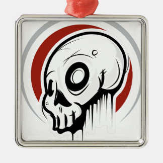 Dripping Skull Illustration by Daily Undead Silver-Colored Square Decoration