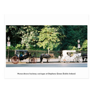 Dublin Ireland, Stephens Green Horse carriages Postcard