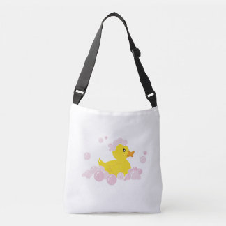 Duck in Pink Bubbles Tote Bag