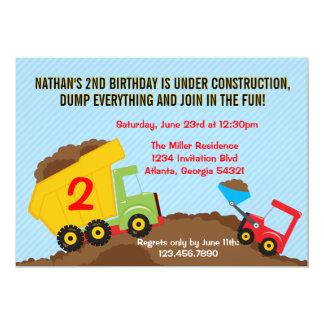 Dump Truck Construction Boy Birthday Party 13 Cm X 18 Cm Invitation Card