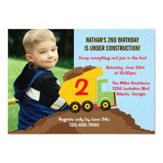 Dump Truck Construction Boy Birthday Party Photo 13 Cm X 18 Cm Invitation Card