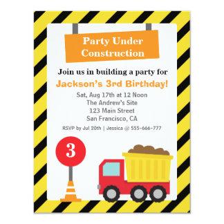 Dump Truck Construction Theme kids Birthday Party 11 Cm X 14 Cm Invitation Card