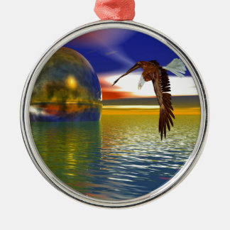 Eagle Flying over Water with Sphere, 3d Look Silver-Colored Round Decoration