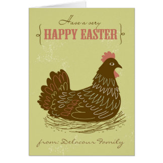 Easter Chicken Green Rustic Happy Easter Card