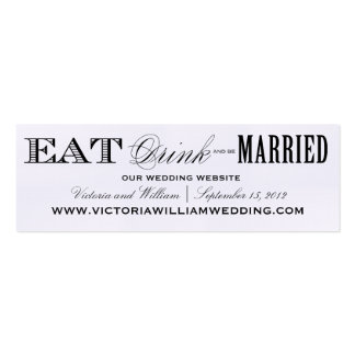 EAT, DRINK | WEDDING WEBSITE CARDS STYLE 2 PACK OF SKINNY BUSINESS CARDS