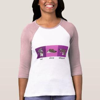Eat Sleep Whippet Ladies Raglan Tee Shirt