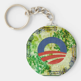 Eco Grunge Obama 2012 Reelection Design Basic Round Button Key Ring