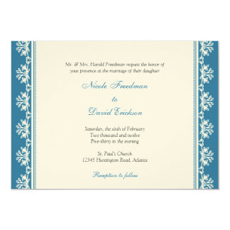 Ecru blue filigree beaded border custom wedding 13 cm x 18 cm invitation card
