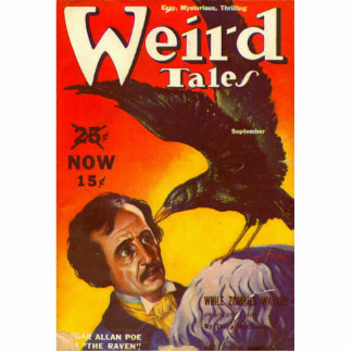 Edgar Allan Poe and Raven Pulp Magazine Cover Photo Sculpture Decoration