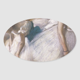 Edgar Degas Before The Rehearsal Oval Sticker