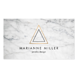 Edgy Rose Gold Triangle Logo White Marble Pack Of Standard Business Cards