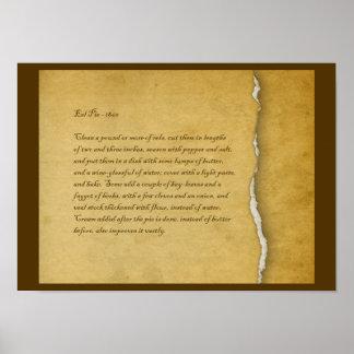 Eel Pie 19th Century Recipe Poster