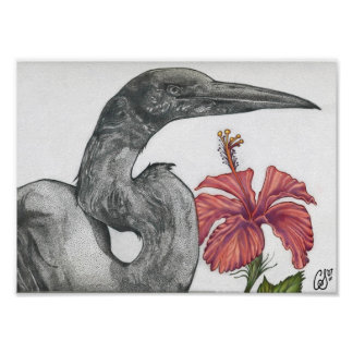 Egret with Hibiscus Poster