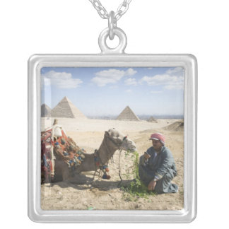 Egypt, Giza. Native man feeds his camel in Square Pendant Necklace