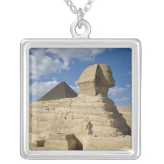 Egypt, Giza. The great Sphynx rises above the 2 Square Pendant Necklace