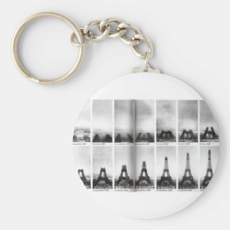 Eiffel Tower Construction Basic Round Button Key Ring