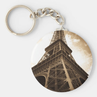 Eiffel tower Paris Basic Round Button Key Ring
