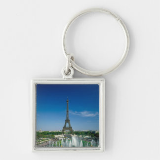 Eiffel Tower, Paris, France Silver-Colored Square Key Ring