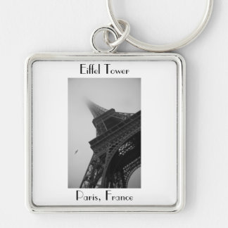 Eiffel Tower Paris France Silver-Colored Square Key Ring