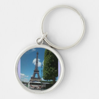 Eiffel Tower Silver-Colored Round Key Ring
