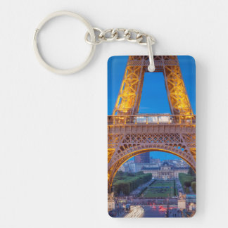 Eiffel Tower with Ecole Militaire beyond Double-Sided Rectangular Acrylic Key Ring
