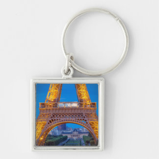Eiffel Tower with Ecole Militaire beyond Silver-Colored Square Key Ring