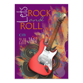 electric guitar Rock & Roll party invitations